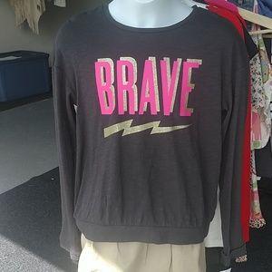 "Girl's long sleeve ""Brave"" long sleeve ⚡Size 14"